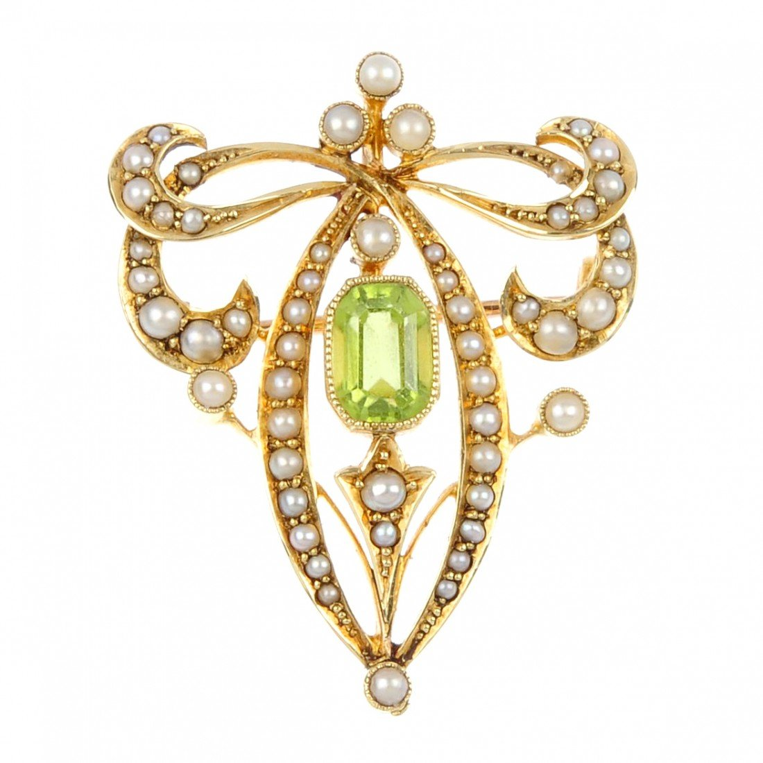 1: An early 20th century peridot and pearl brooch. Of f