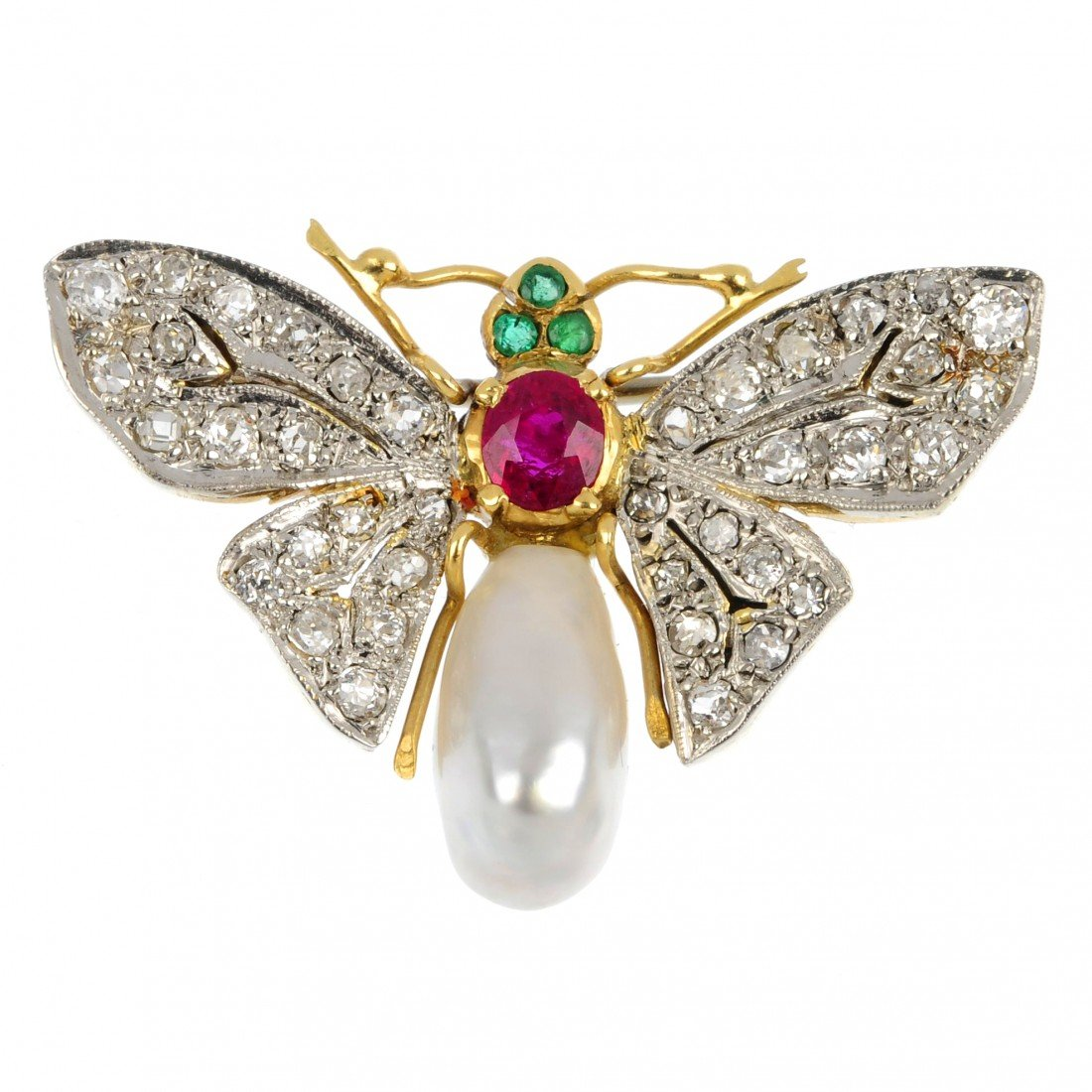 2: A multi-gem fly brooch. The baroque cultured pearl a