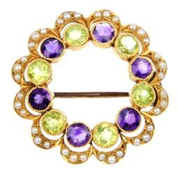 3: An early 20th century peridot, amethyst and split se