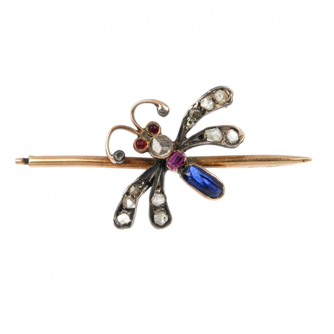 5: A multi-gem dragonfly bar brooch. The vari-cut sapph