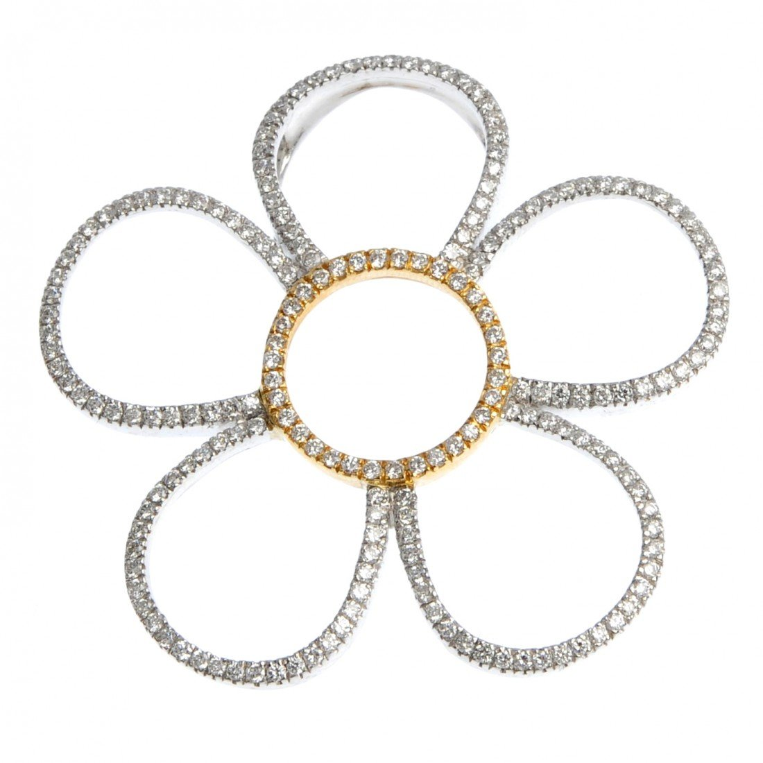 14: A diamond flower pendant. Designed as a brilliant-c