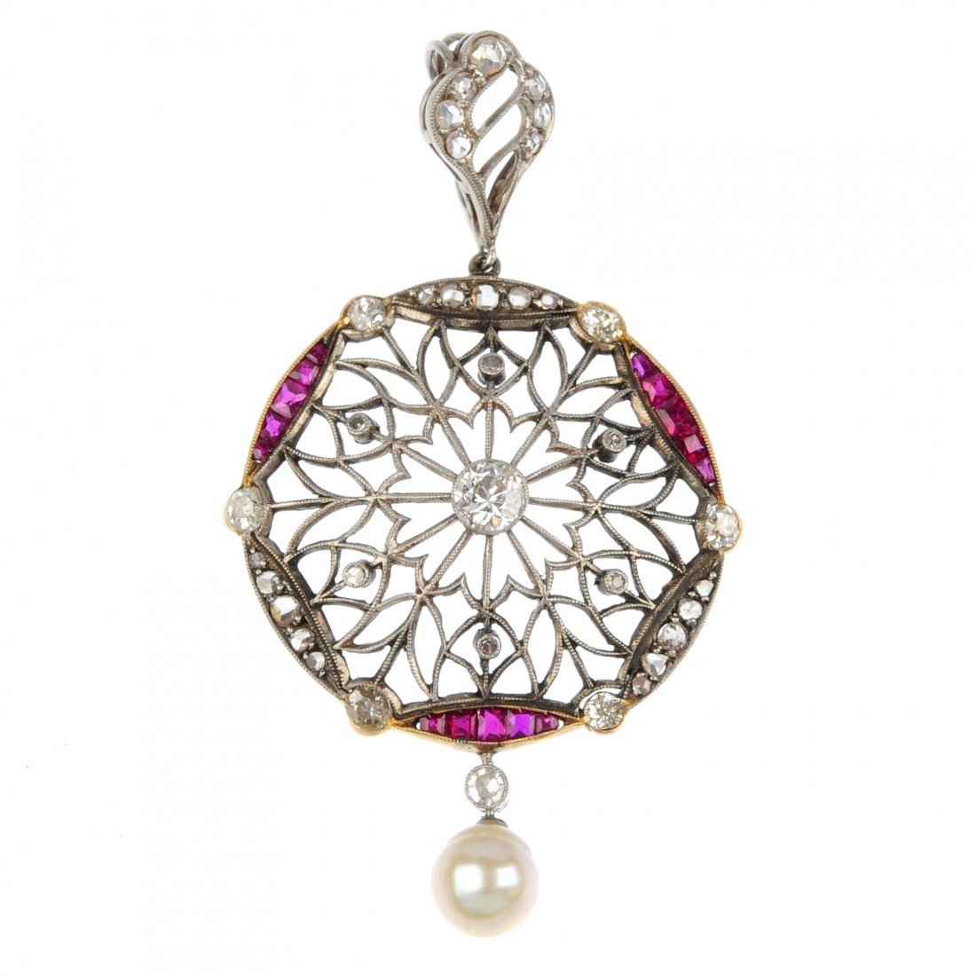 22: A ruby, diamond and pearl pendant. Of openwork desi