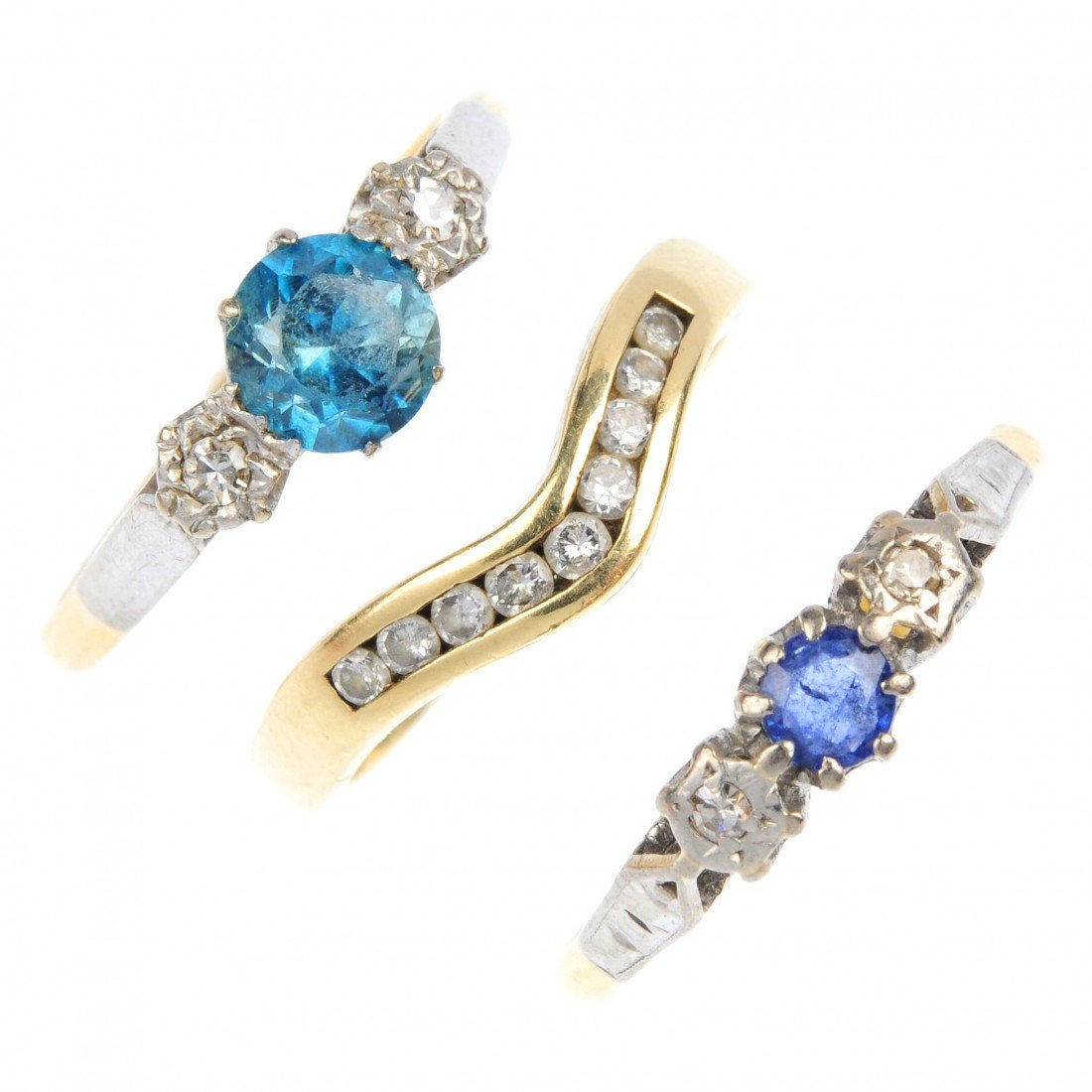 129: A selection of three gem-set rings. To include a c