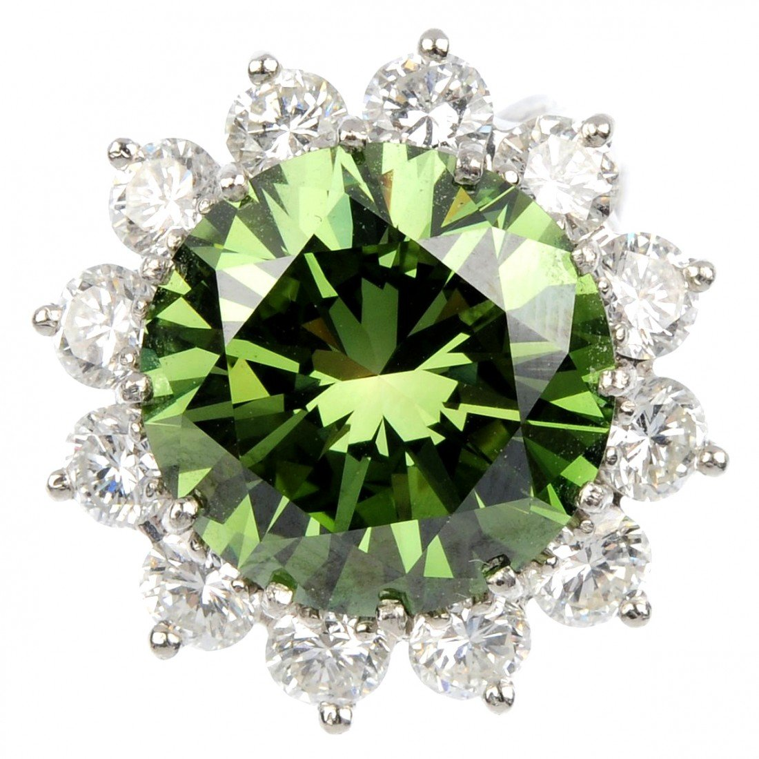 173: A treated green diamond cluster ring. The brillian