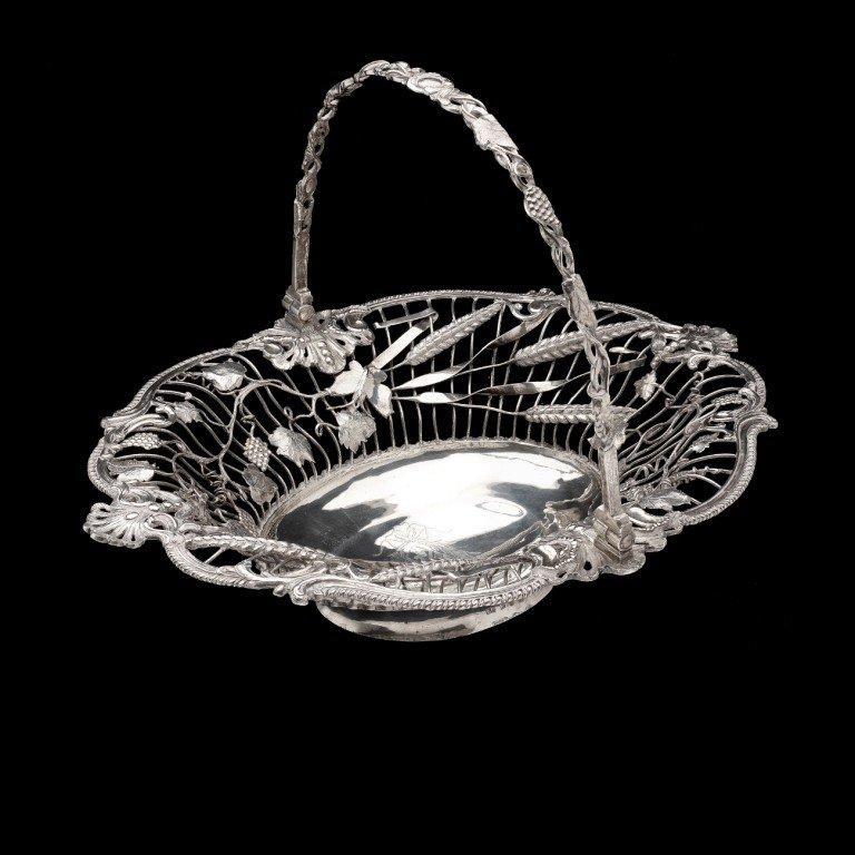 2: George III silver swing handle bread basket.