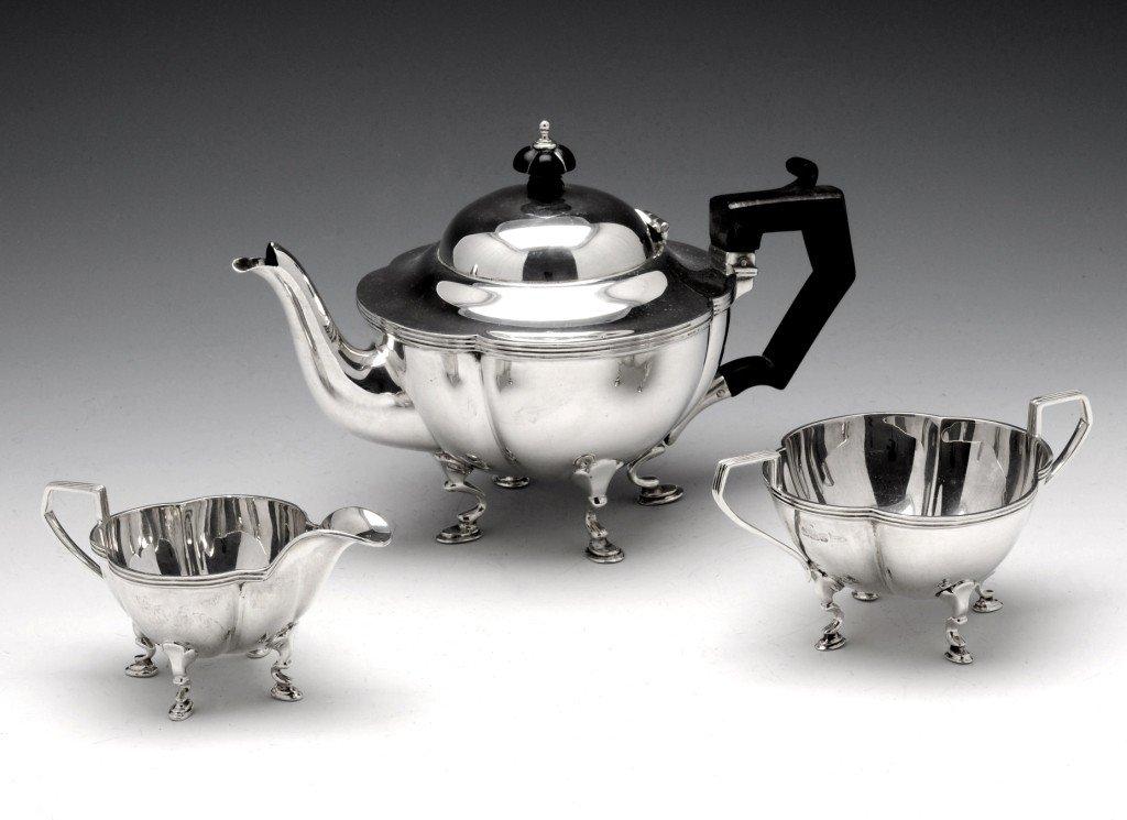 3: Edwardian silver three part bachelor tea service.