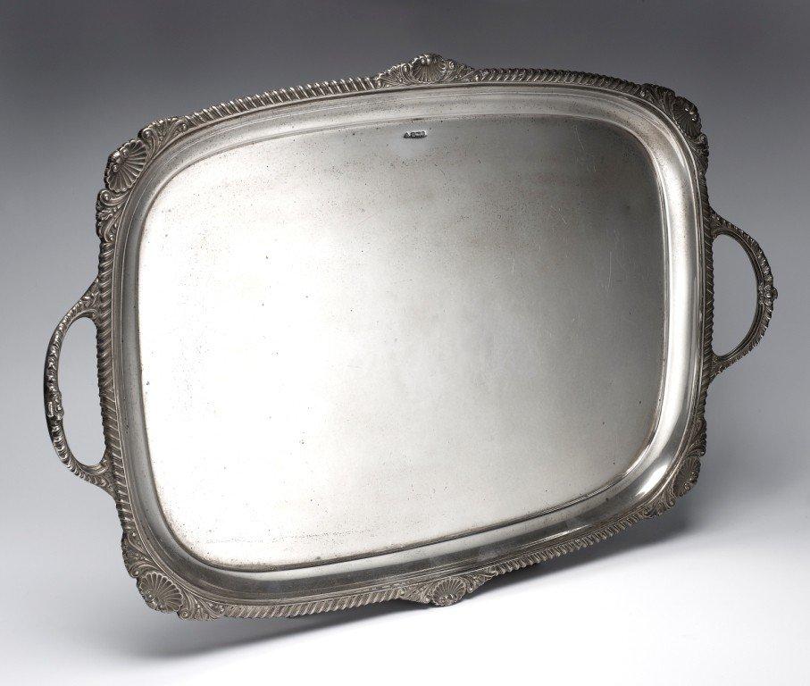 6: Edwardian silver tray of rectangular form.