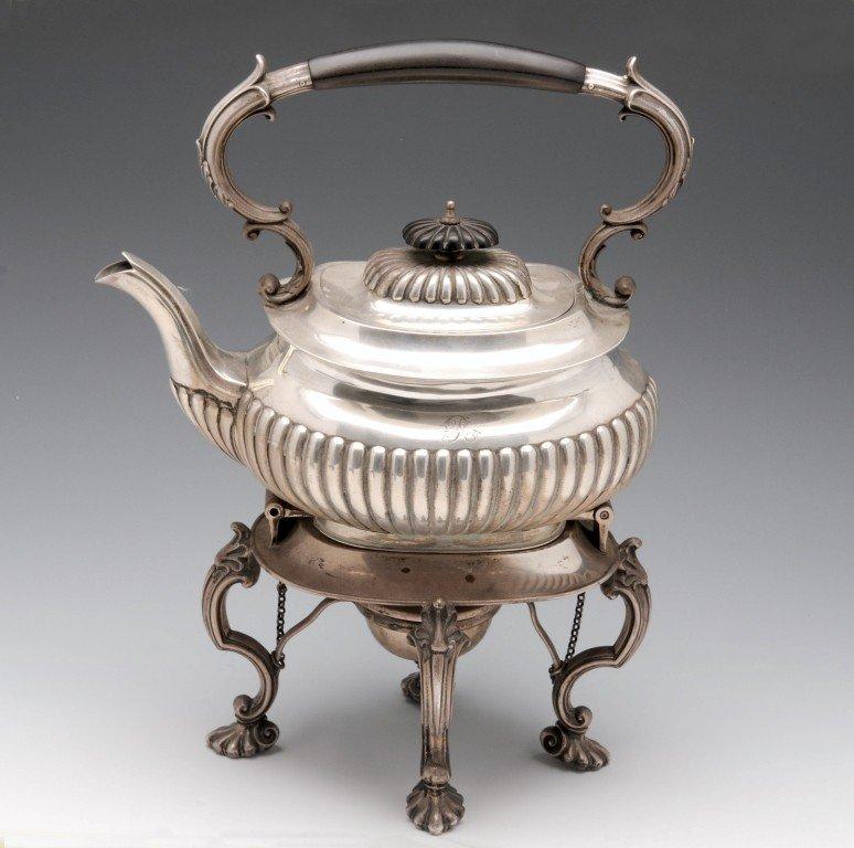 9: Edwardian silver spirit kettle.