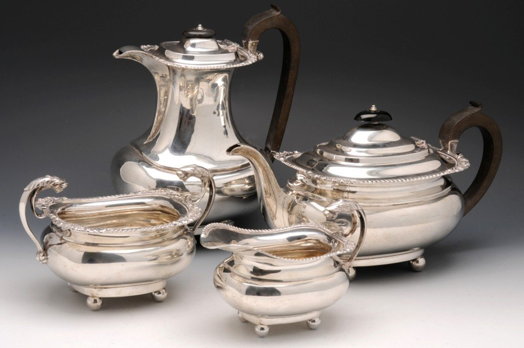 11: Edwardian silver four part silver tea service.