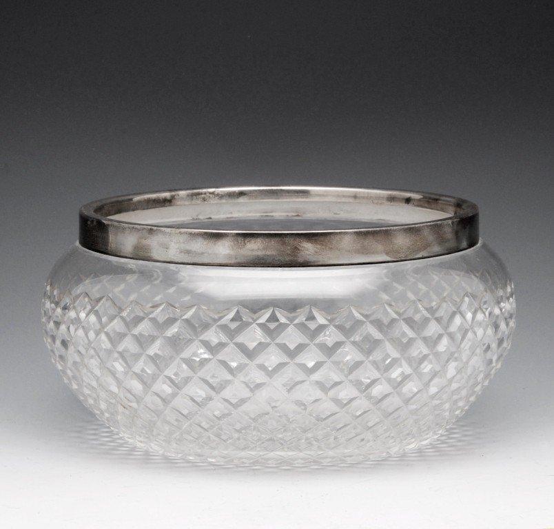 13: Edwardian silver mounted cut glass bowl.
