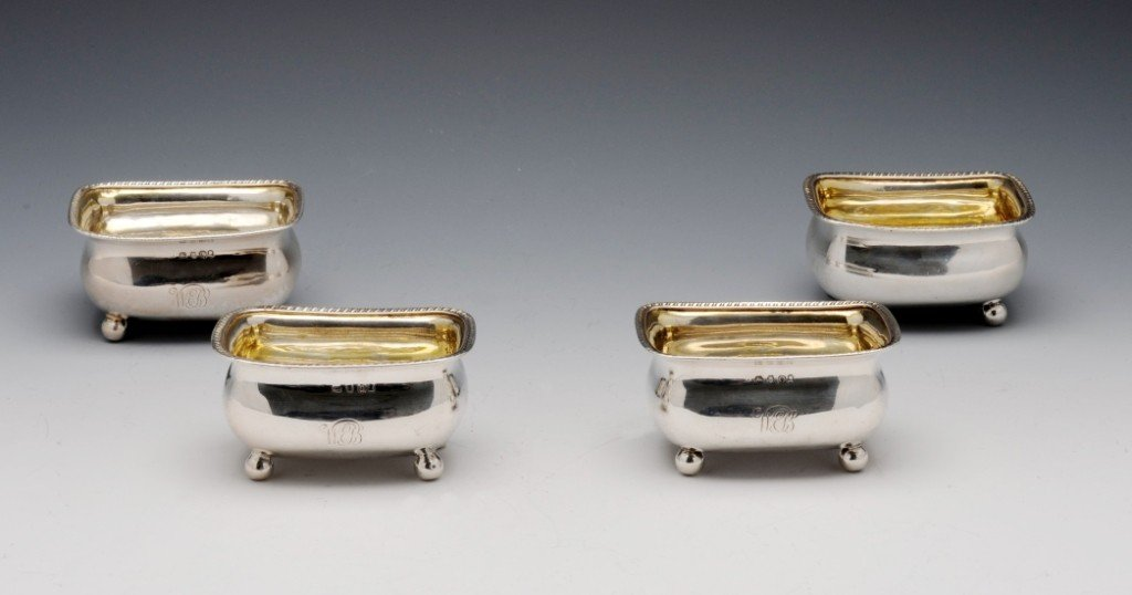 14: George III set of four silver open salts.