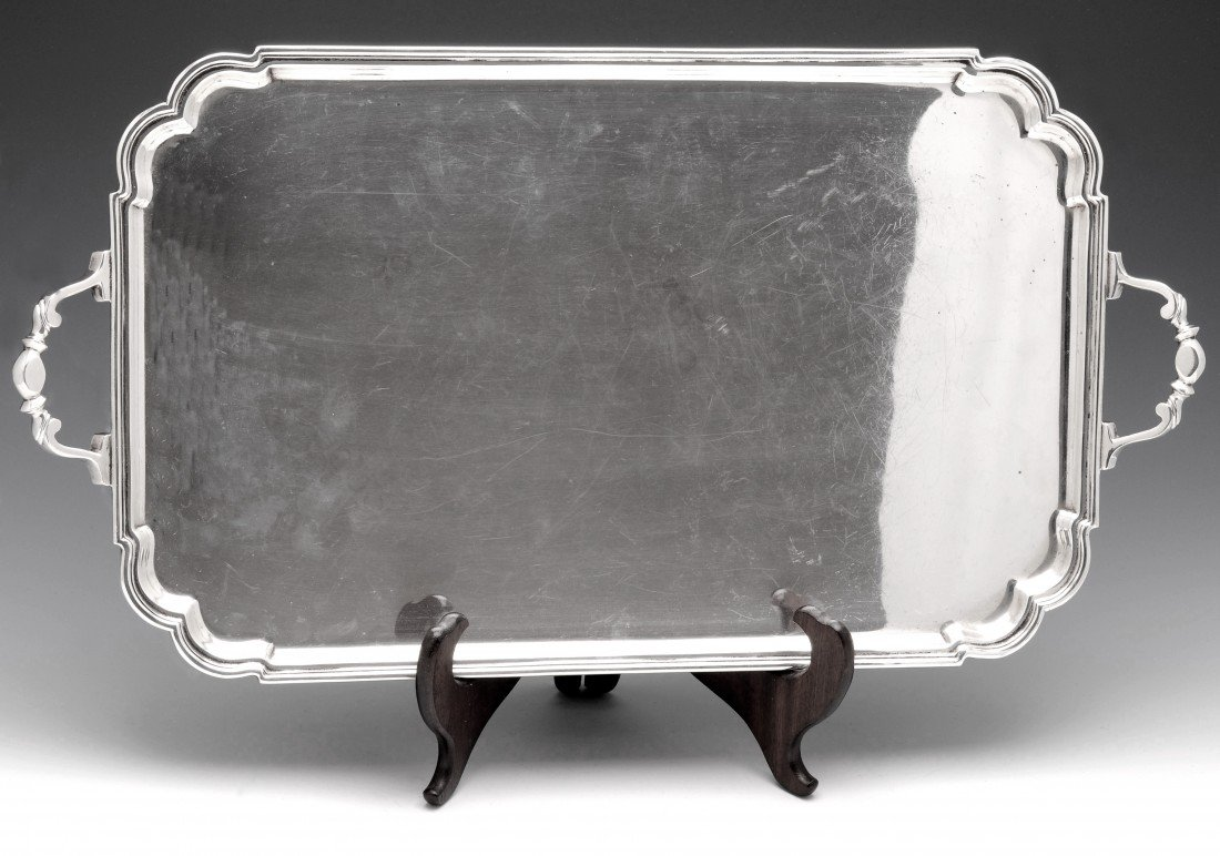 18: A 1940's silver tray of rectangular form.