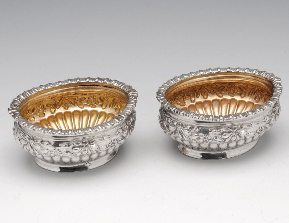 21: A pair of late Victorian silver open salts.