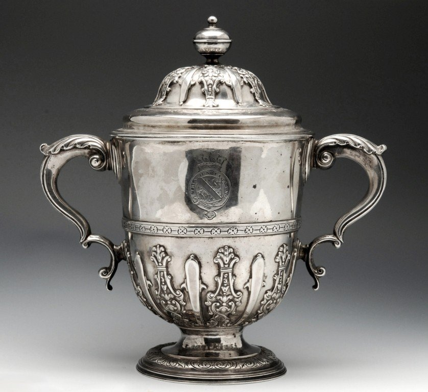 22: Queen Anne twin-handled cup and cover.