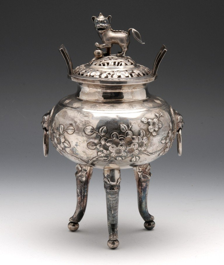 289: A Chinese white metal burner.