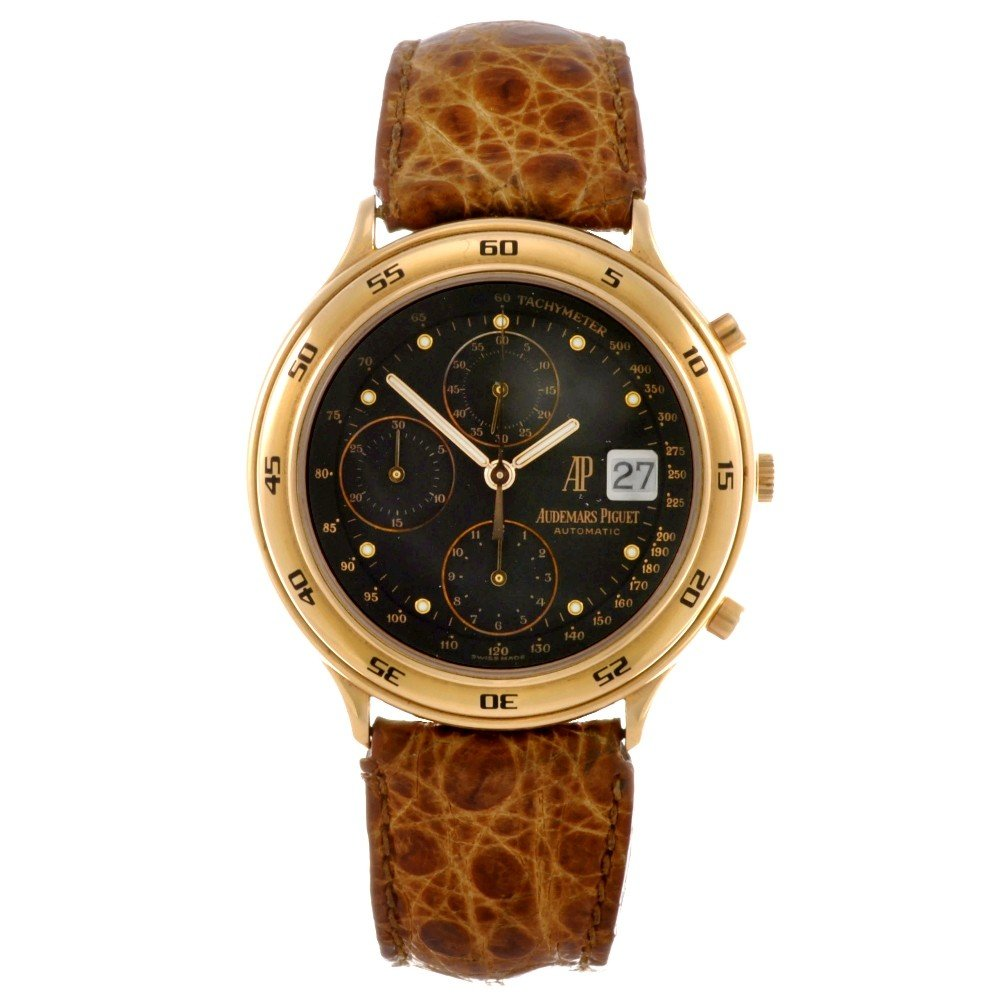 1: AUDEMARS PIGUET - an 18k gold automatic chronograph
