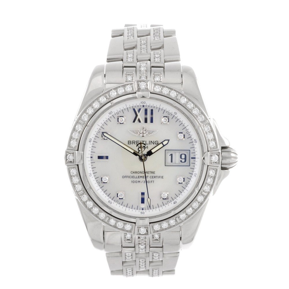 16: BREITLING - an 18k white gold automatic gentleman's
