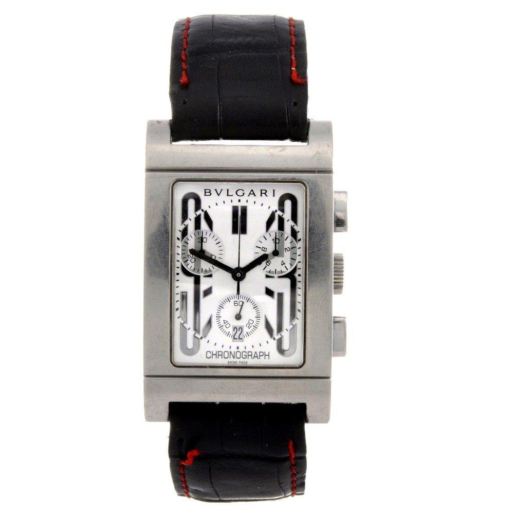 22: BULGARI - a stainless steel quartz chronograph gent