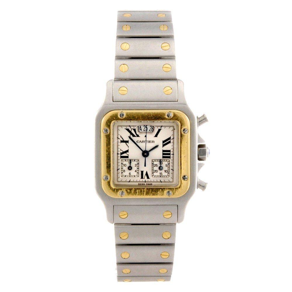 23: CARTIER - a bi-metal quartz chronograph Santos brac
