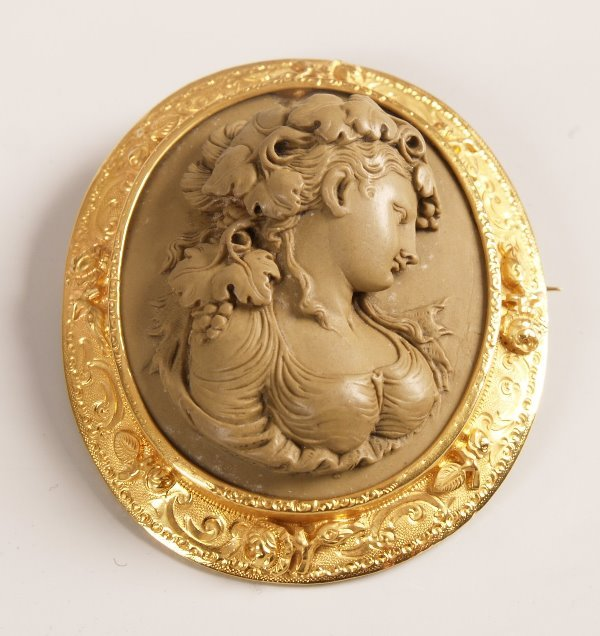 1263:  Oval lava cameo depicting a classical lady, with