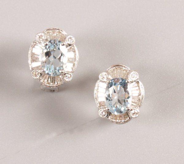 1375:  Pair of 18ct white gold aquamarine and diamond c