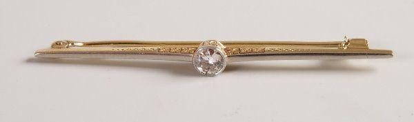 1606: Single stone old european diamond set bar brooch
