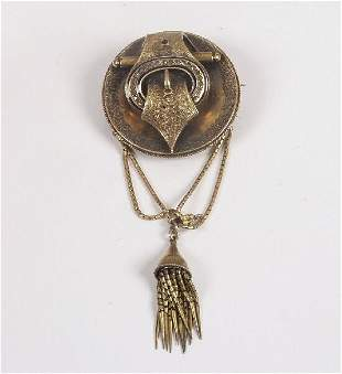 Victorian gold circular buckle brooch w