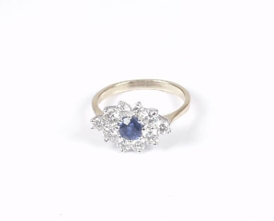1014: Sapphire and diamond nine stone cluster