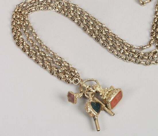 1539: Victorian gold guard chain, composed of