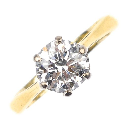 2: An 18ct gold diamond single-stone ring. The brillian