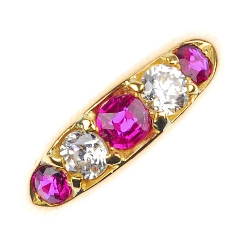 3: A ruby and paste five-stone ring.