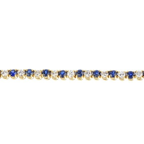 4: A sapphire and diamond line bracelet. Comprising twe