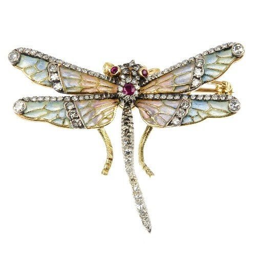 9: A plique-a-jour enamel dragonfly brooch. The multi-s