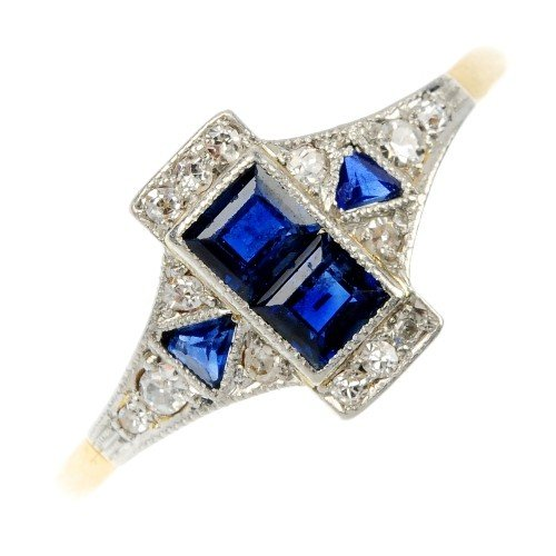 12: A sapphire and diamond ring. The square-shape sapph