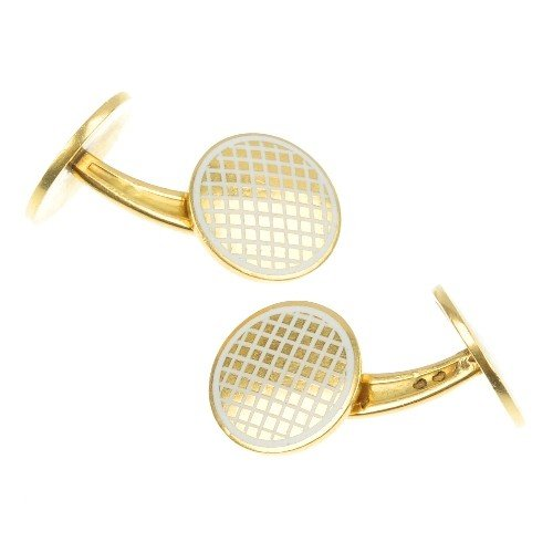 14: A pair of French 18ct gold enamelled cufflinks. Eac