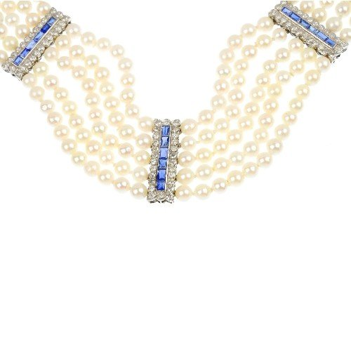 20: A diamond and sapphire cultured pearl five-row neck