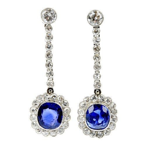 23: A pair of mid 20th century sapphire and diamond ear