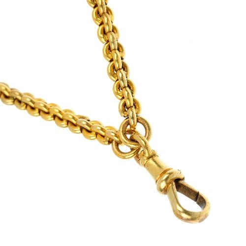 516: A 15ct gold fancy-link longuard chain with lobster