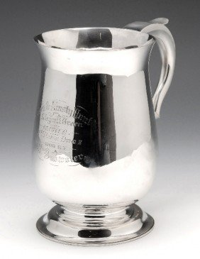 4: A Victorian silver two pint mug.