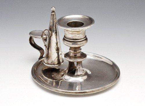 7: George III silver chamber candlestick.