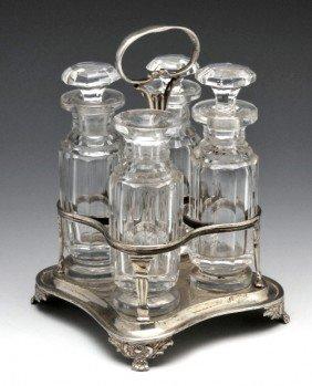 9: George IV silver cruet stand.