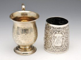 11: A Victorian silver christening mug.