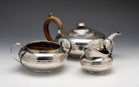 13: George III/George IV three piece silver tea service