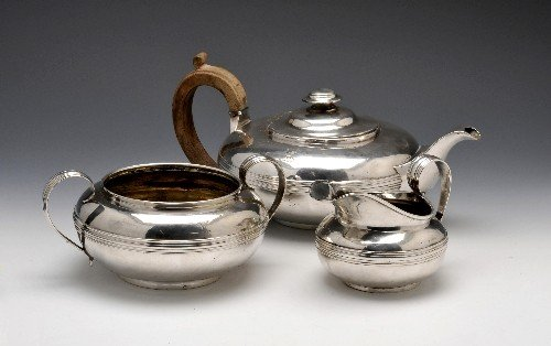 13: George III/George IV three piece silver tea service