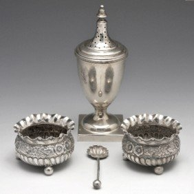 14: A pair of Victorian silver open salts.