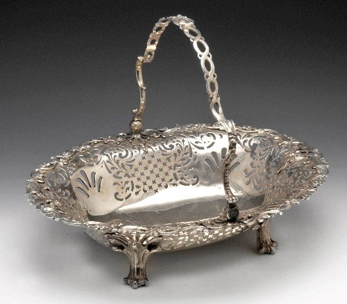 15: George II silver bread basket.