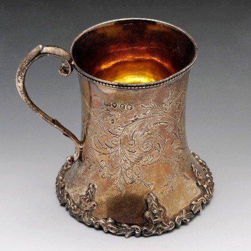 21: Victorian silver christening mug.