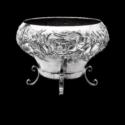23: Edwardian silver jardinière.