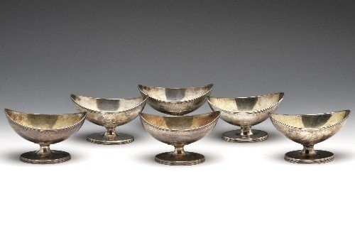 24: George III set of six matched open salts.