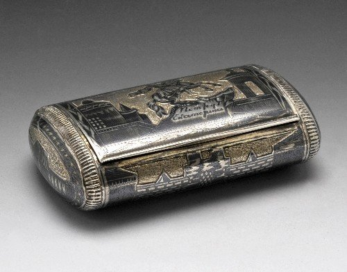 621: Russian silver snuff box.